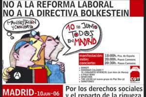 Recorrido definitivo y horario de la manifestación y concierto  de CGT del 10 de junio de 2006 contra la Reforma Laboral