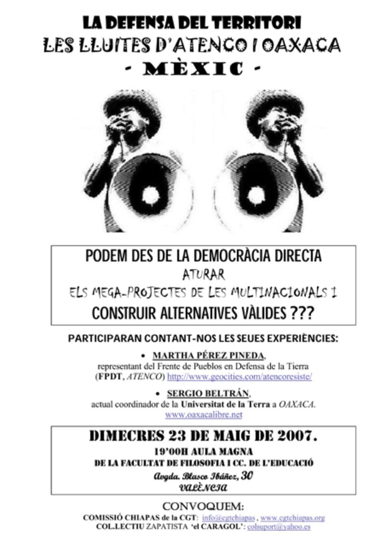 23 maig València: videofòrum Chiapas i territori