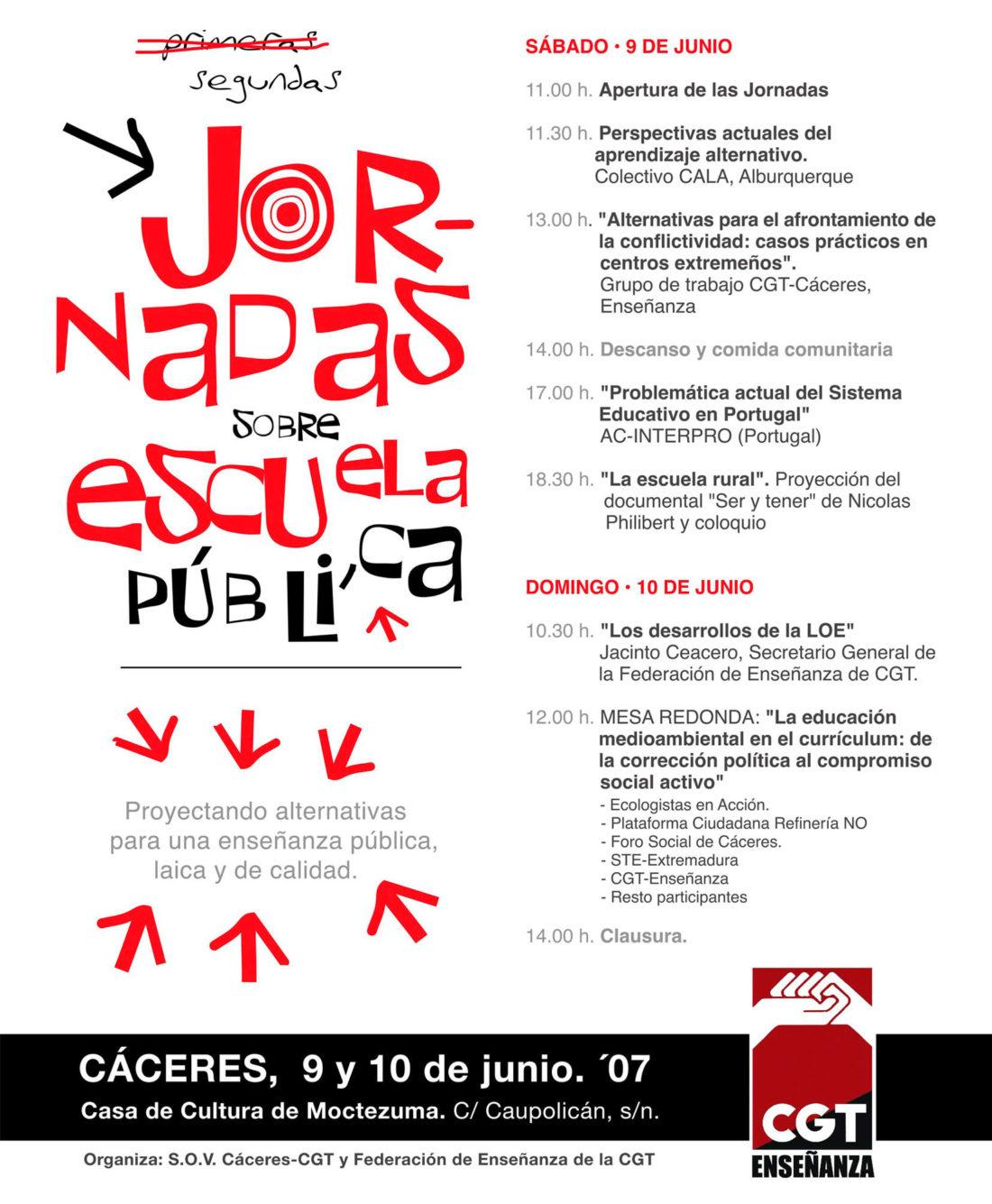 Cáceres. II Jornadas de Escuela pública