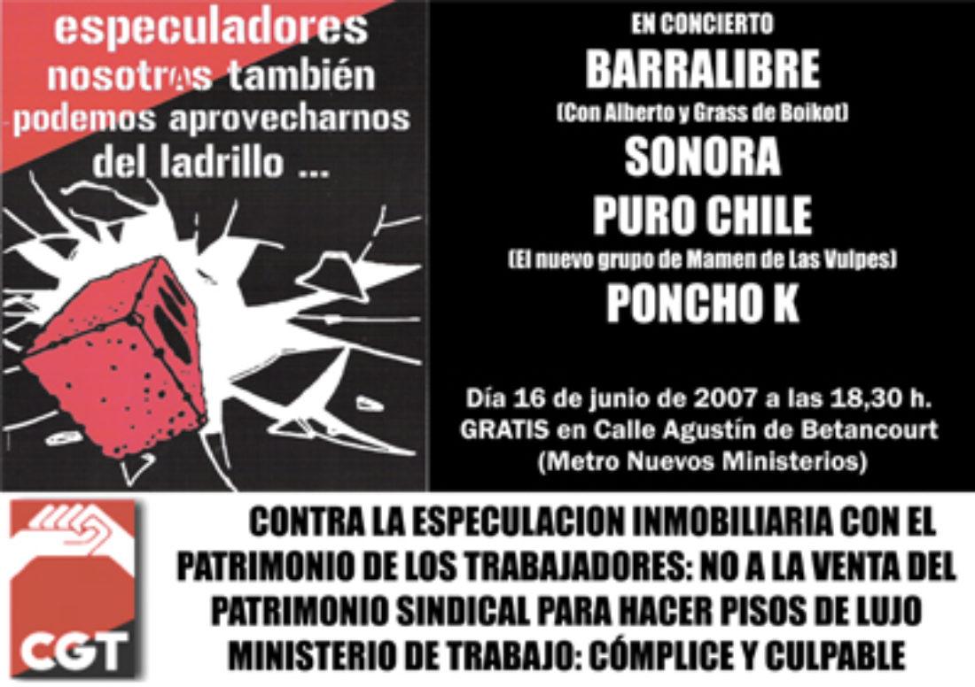 Madrid. Suspendido el concierto del sábado 16 convocado por CGT