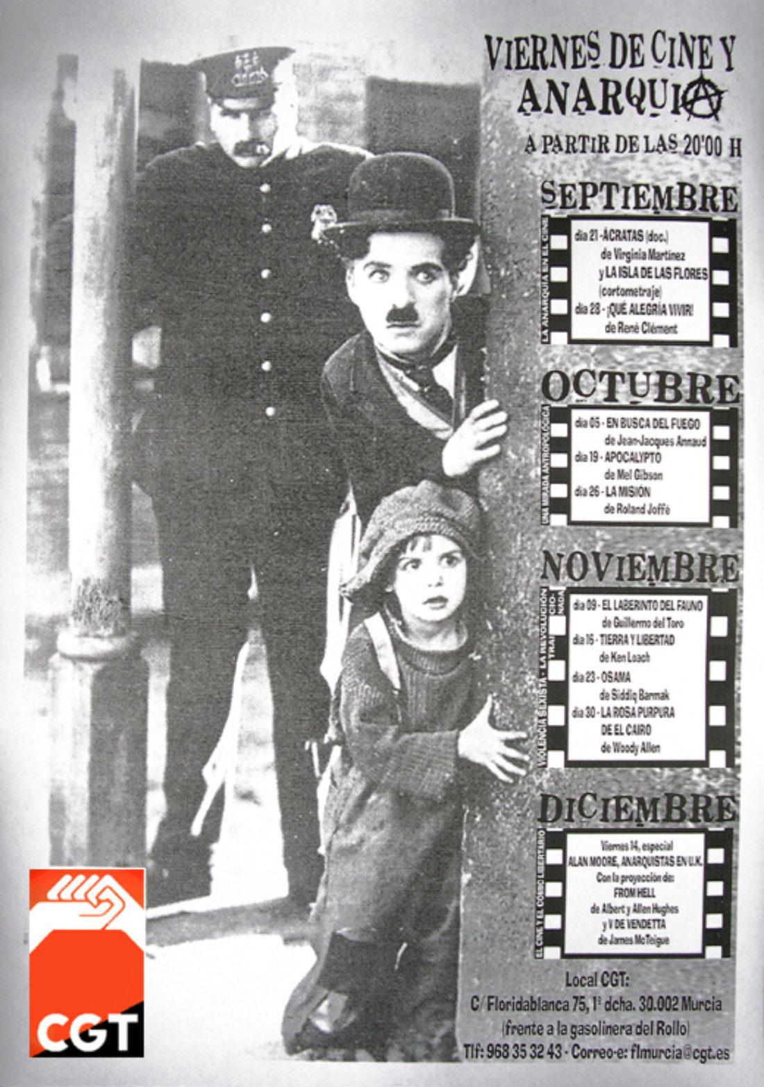Viernes de cine y Anarquía. los viernes a las 20'00 h. en el local de la CGT en Murcia