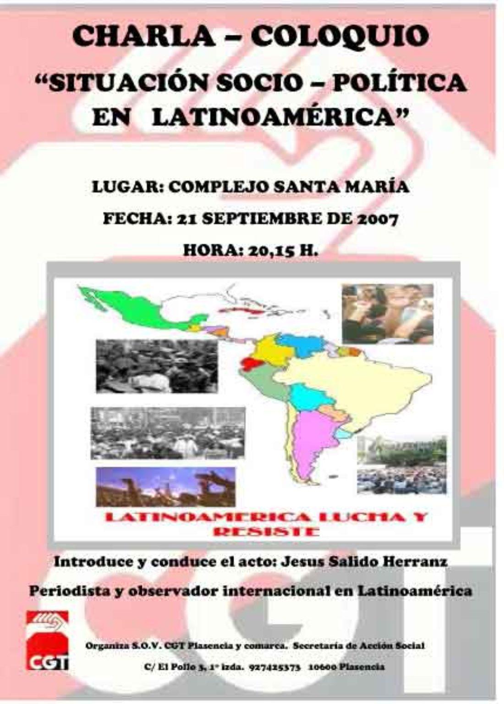 """Plasencia. Charla– coloquio  """"situación socio– política en latinoamérica"""""""