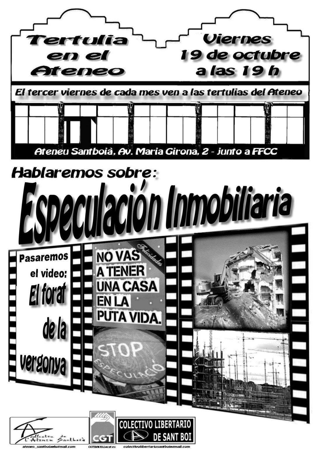 19 octubre -Tertulia en el Ateneu Santboià: Especulación Inmobiliaria