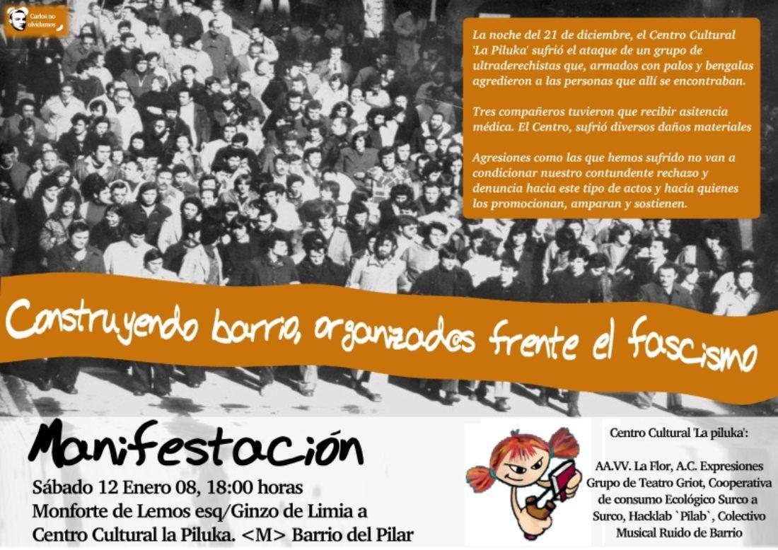 Manifestación en apoyo al Centro Cultural La Piluka. Sábado 12 de enero, a las 18:00