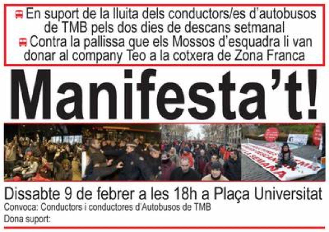 9 de febrer, Manifestació de suport als conductors/es de busos de TMB i contra la pallissa del Mossos d'esquadra al company Teo