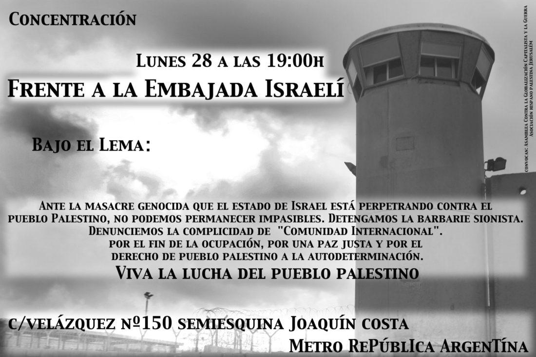Concentración de apoyo al pueblo palestino, el lunes 28, frente a la Embajada israelí
