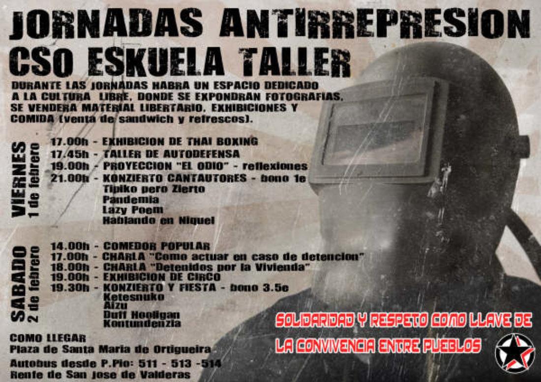 Jornadas Antirepresivas:1 y 2 de Febrero en CSO Eskuela Taller