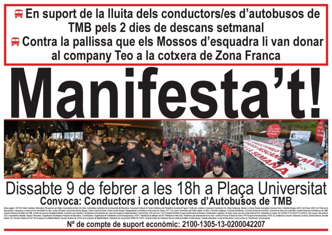 Manifesta't! En suport de la lluita dels conductors/es d'autobusos de TMB pels 2 dies de descans setmanal