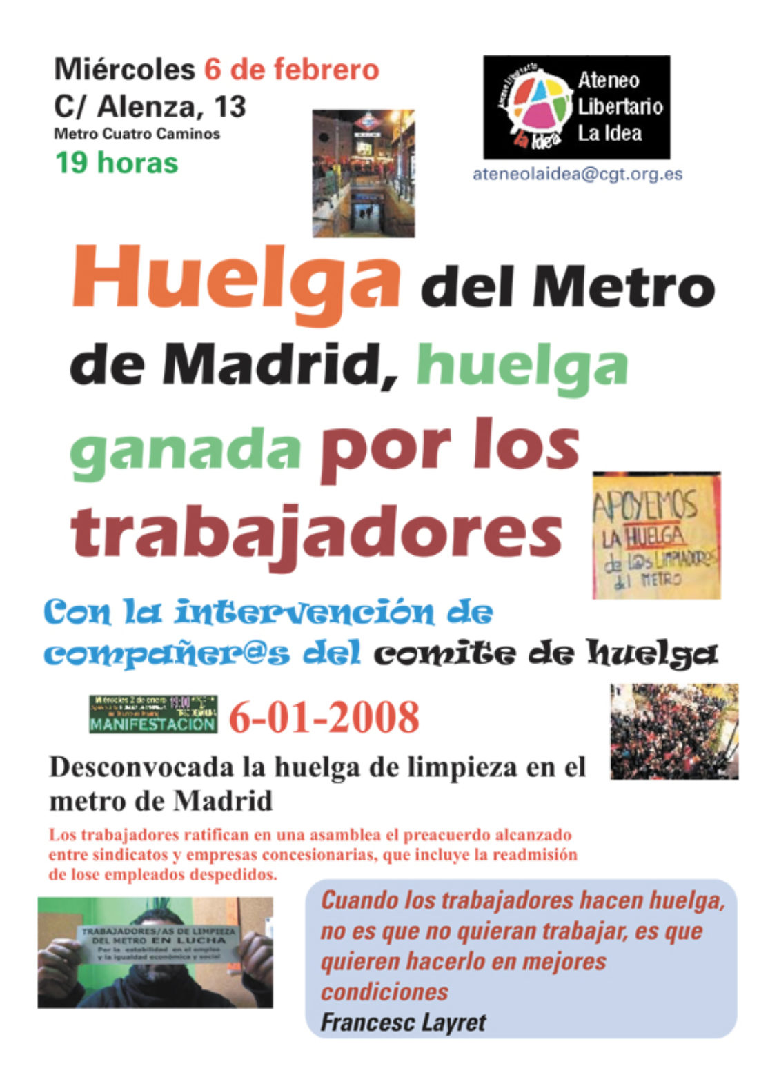 Ateneo Libertario La Idea: «Huelga del Metro de Madrid, huelga ganada por los trabajadores», con la intervención de compañer@s del Comité de Huelga