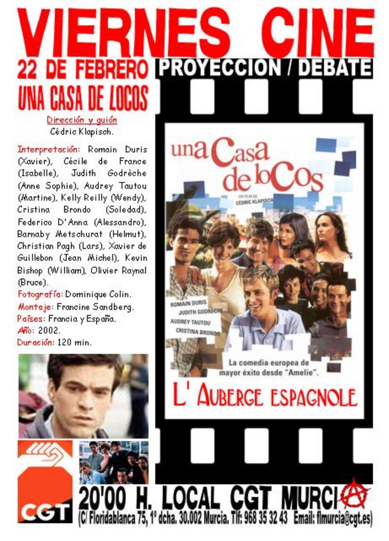VIERNES CINE. Este 22 de febrero UNA CASA DE LOCOS a las 20'00 h. en el local de CGT en Murcia