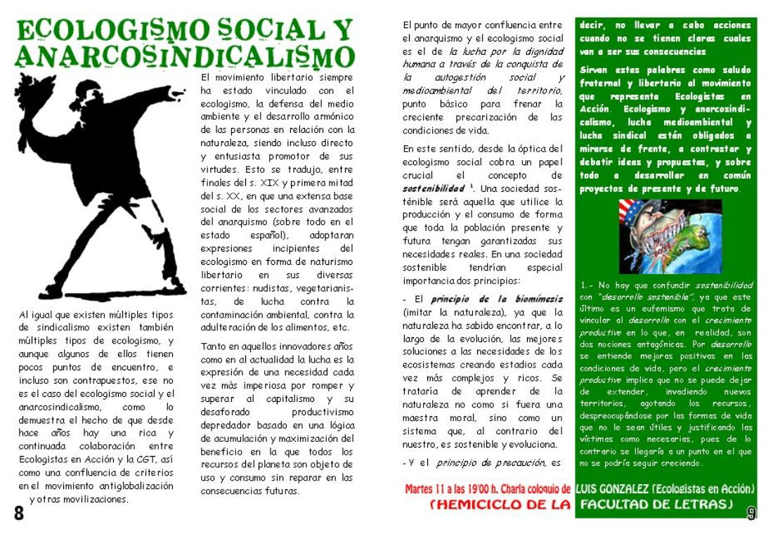 Murcia. Jornadas Libertarias. Hoy martes 11 de marzo el militante ecologista LUÍS GONZÁLEZ ofrecerá la charla coloquio