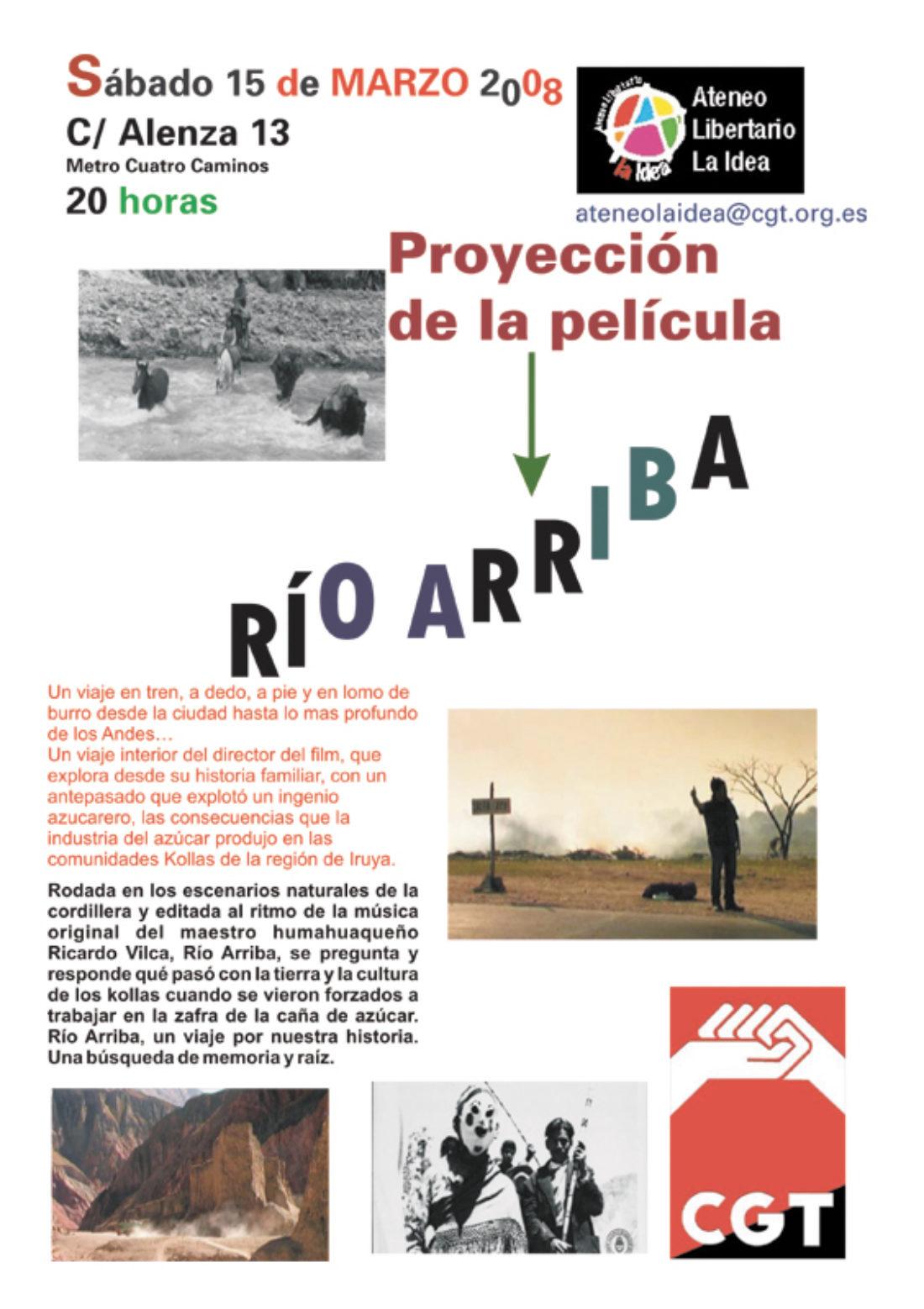 Ateneo Libertario La Idea, 15 de marzo: proyección de la película «Río arriba»