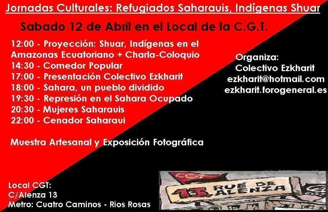 Madrid. 12 de abril, Jornadas culturales: refugiados saharáuis, indígenas Shuar, organizadas por el colectivo Ezkharit