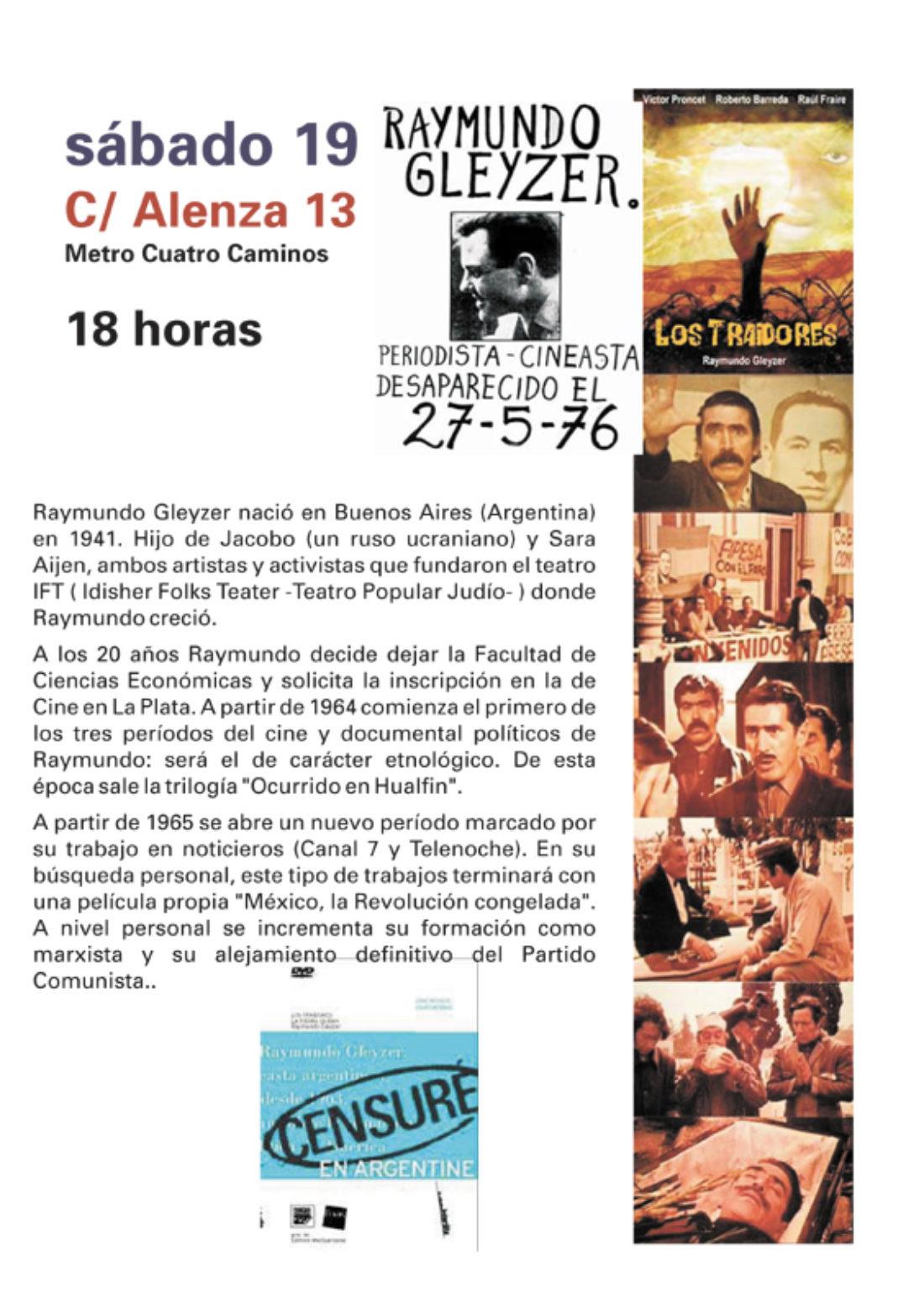 Madrid, Ateneo Libertario La Idea, 19 de abril: Raymundo Gleyzer