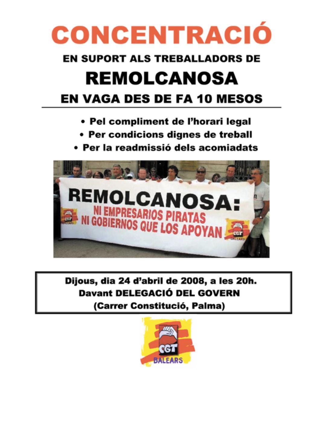 Palma: concentración en apoyo de los trabajadores de Remolcanosa, en huelga desde hace diez meses