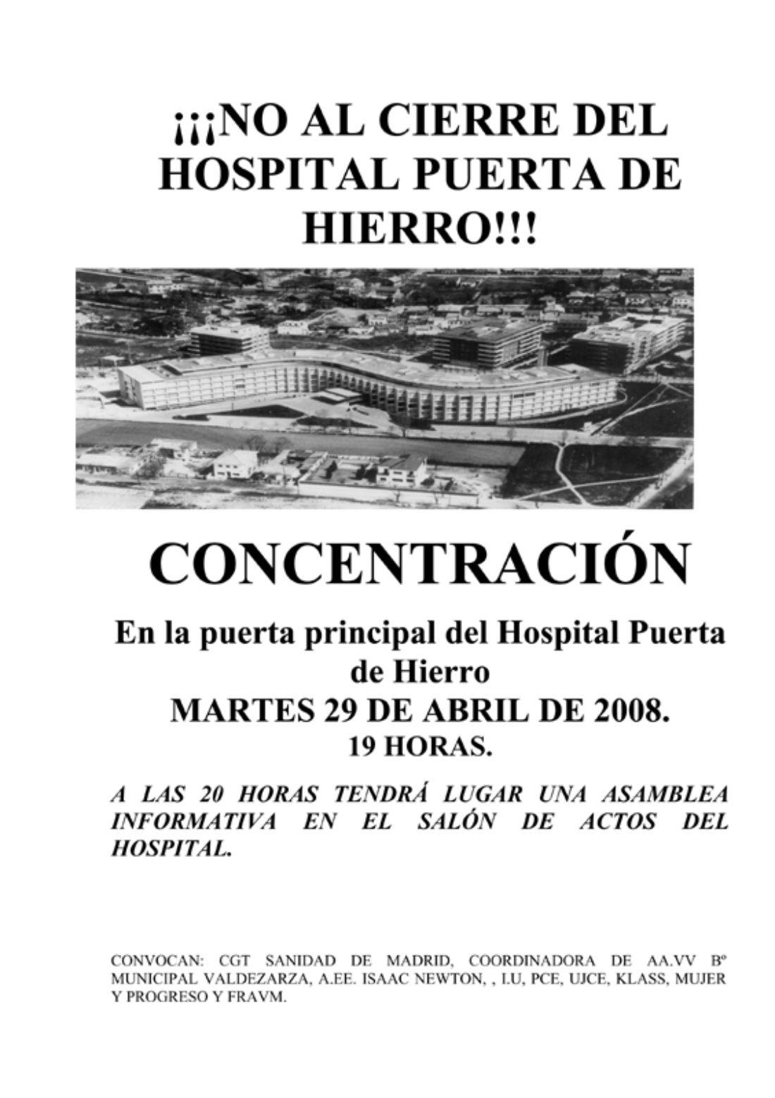 Madrid: concentración contra el cierre del hospital Puerta de Hierro