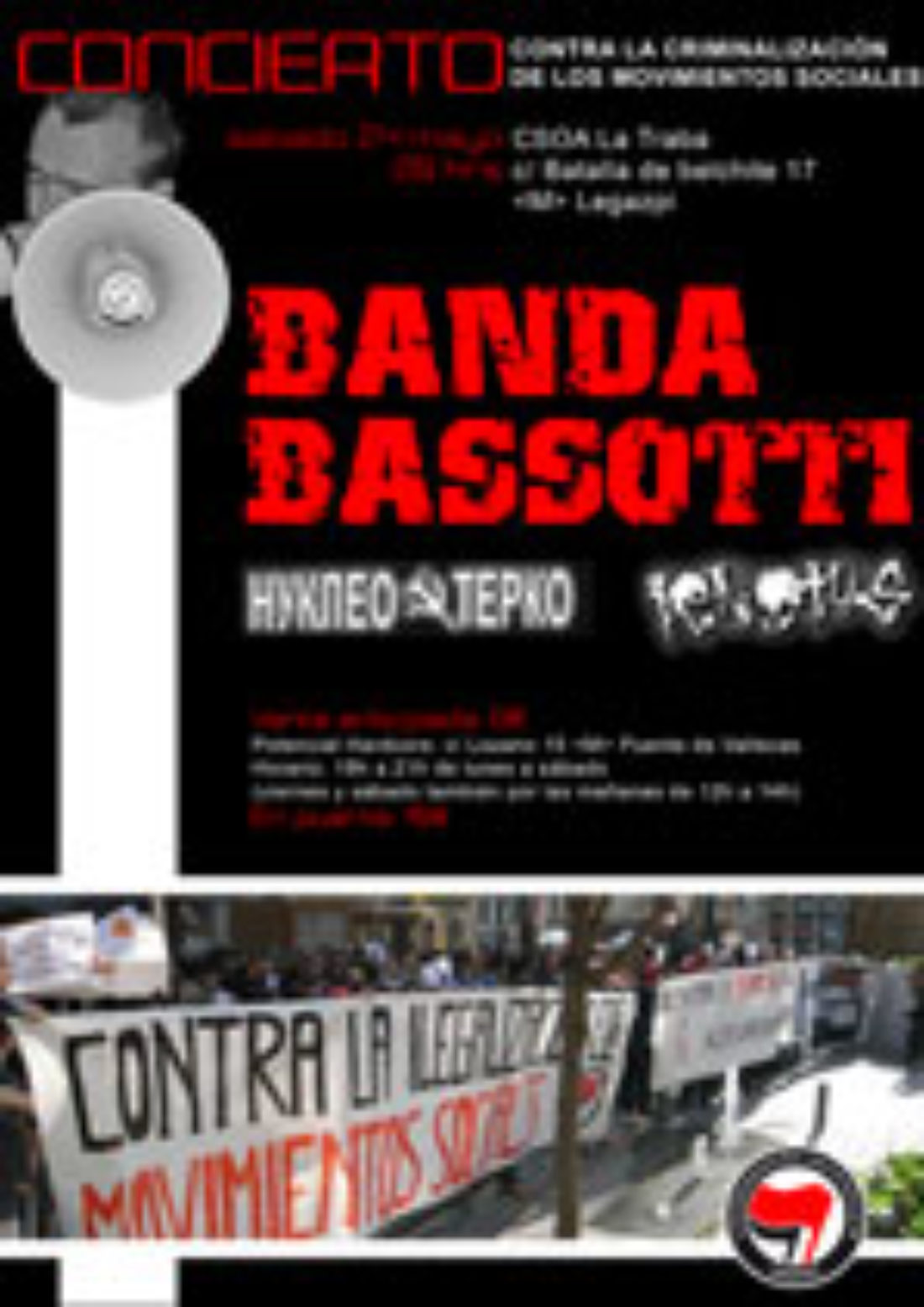 Concierto de Banda Bassotti contra la criminalización de los Movimientos Sociales