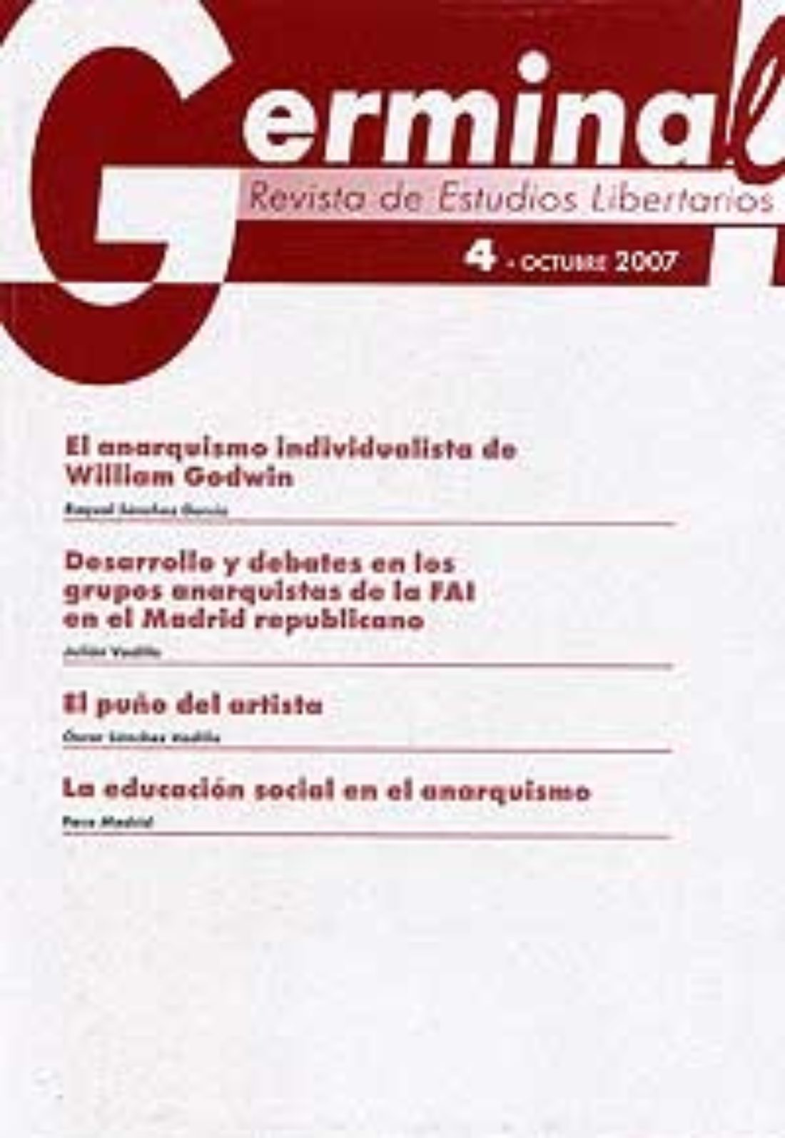 Germinal. Revista de Estudios Libertarios. Presentación del nuevo numero, el 5º