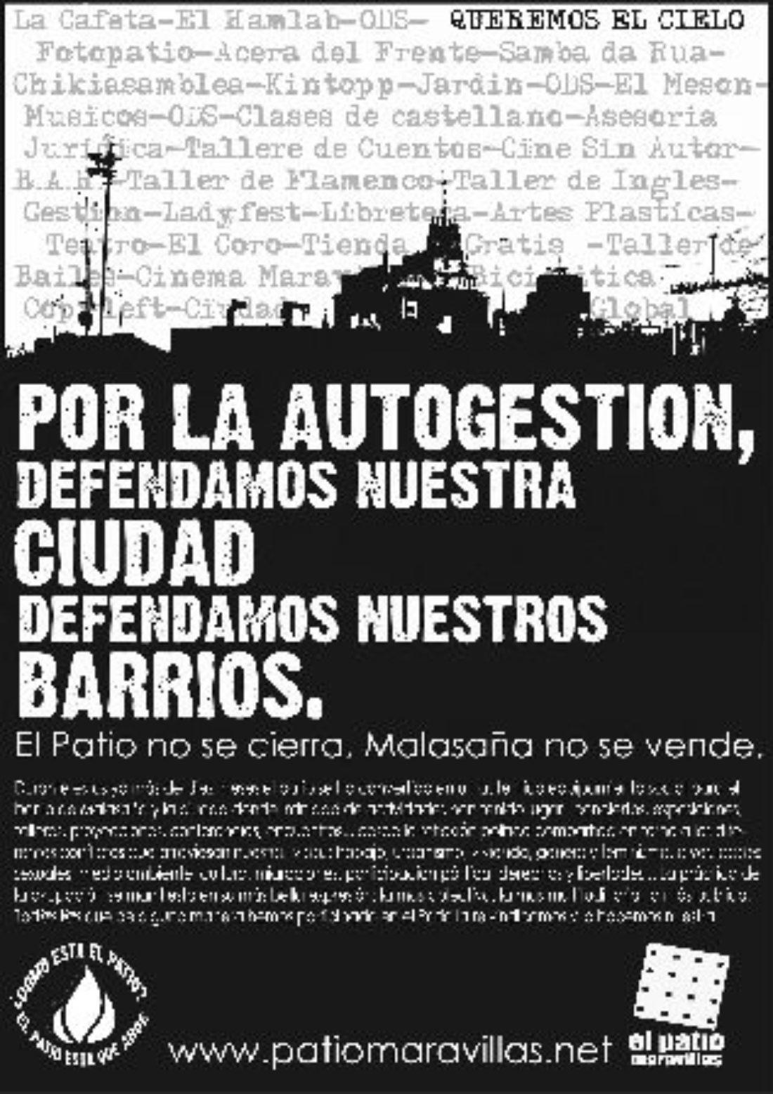 Madrid: manifestación en apoyo al Patio Maravillas, 7 de junio, 18 h., Plaza de España.