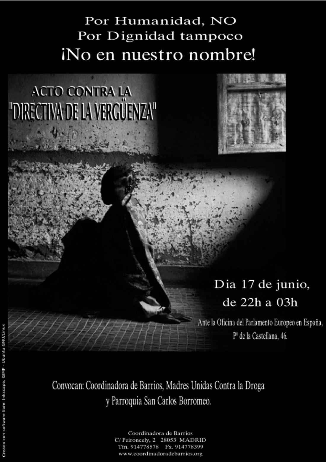 Madrid: contra la «Directiva de la Vergüenza». Martes 17 de Junio de 22h. a 03h.