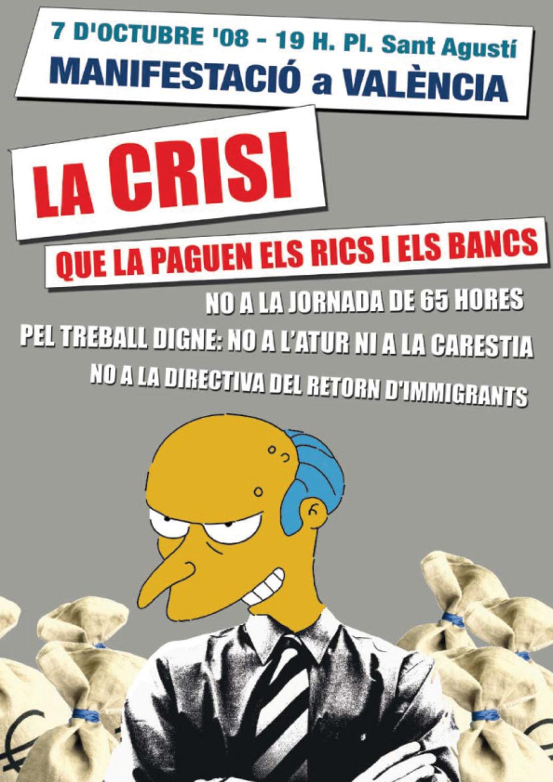 València: Manifestació 7 octubre «Ni 65 hores de treball, ni expulsions. La crisi que la paguen els rics»