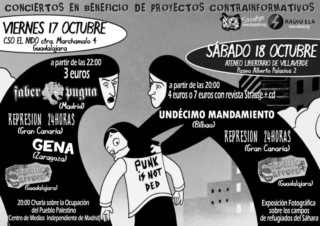17 y 18 de octubre, en Guadalajara y Madrid: conciertos en beneficio de proyectos contrainformativos