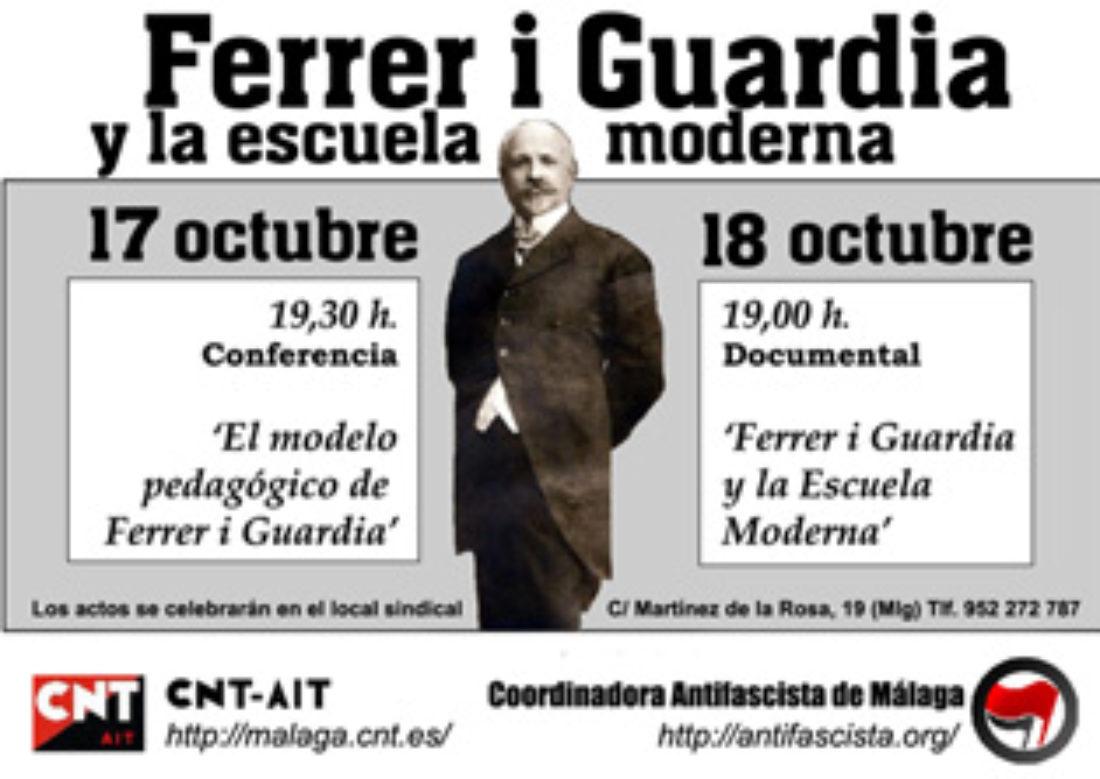 Málaga, 17 y 18 octubre: Actos Conmemorativos a Ferrer i Guardia por CNT