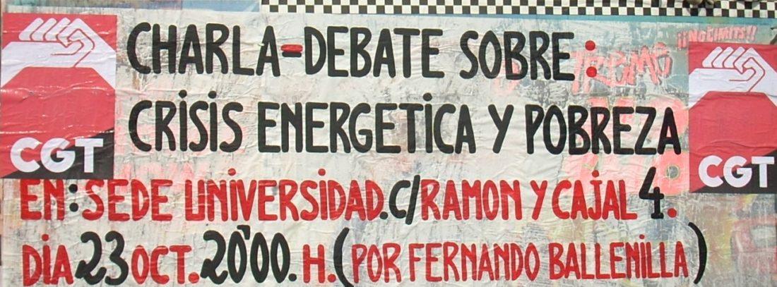 """CGT Alacant: Charla –Debate: """"Agricultura, población y energía. El fin del petróleo barato»"""