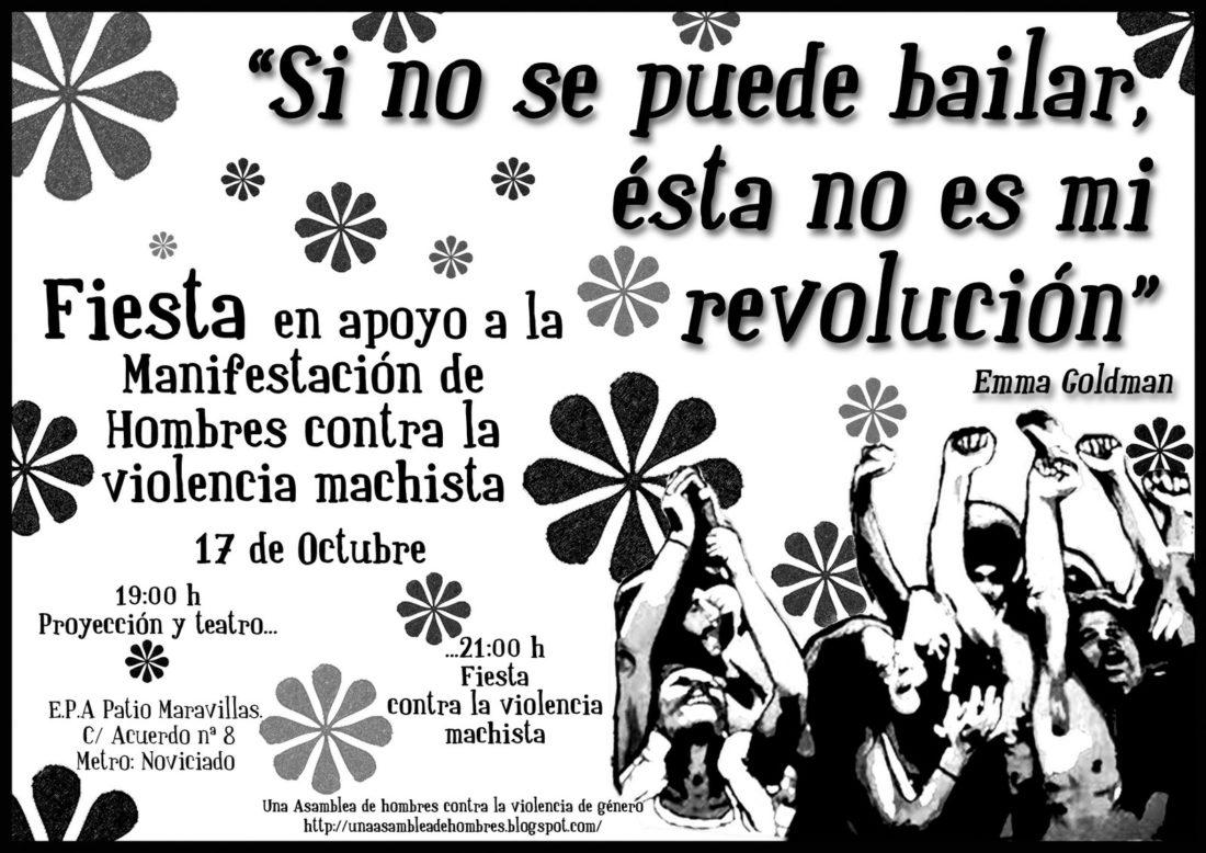 Madrid, 17 de octubre: fiesta en apoyo de la manifestación de hombres contra la violencia machista