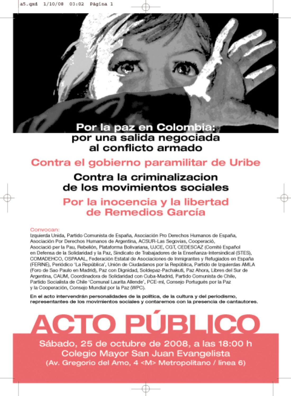 Madrid, 25 de octubre: acto público en solidaridad con Remedios García