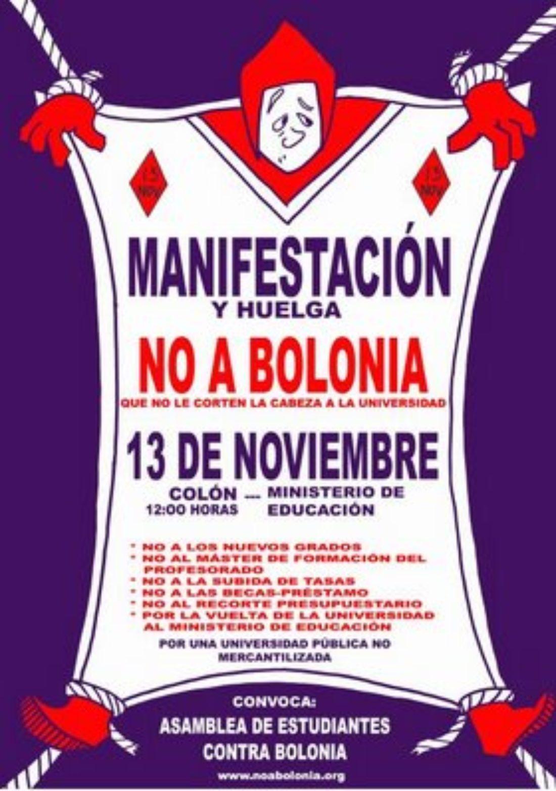 13-N: MANIFESTACIÓN Y HUELGA, NO A BOLONIA/jornadas de lucha 11,12,13-Nov en UAM