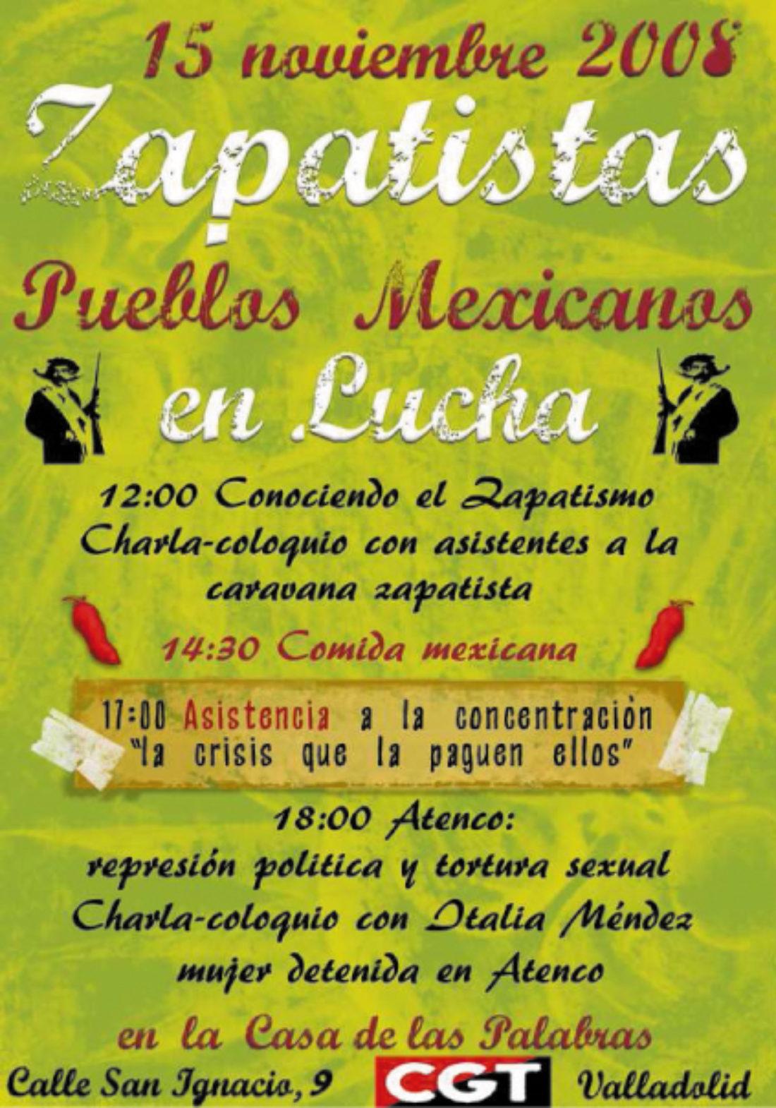 [Valladolid] Zapatistas: Pueblos Mexicanos en Lucha. Sábado 15 de noviembre de 2008 en LA CASA DE LAS PALABRAS