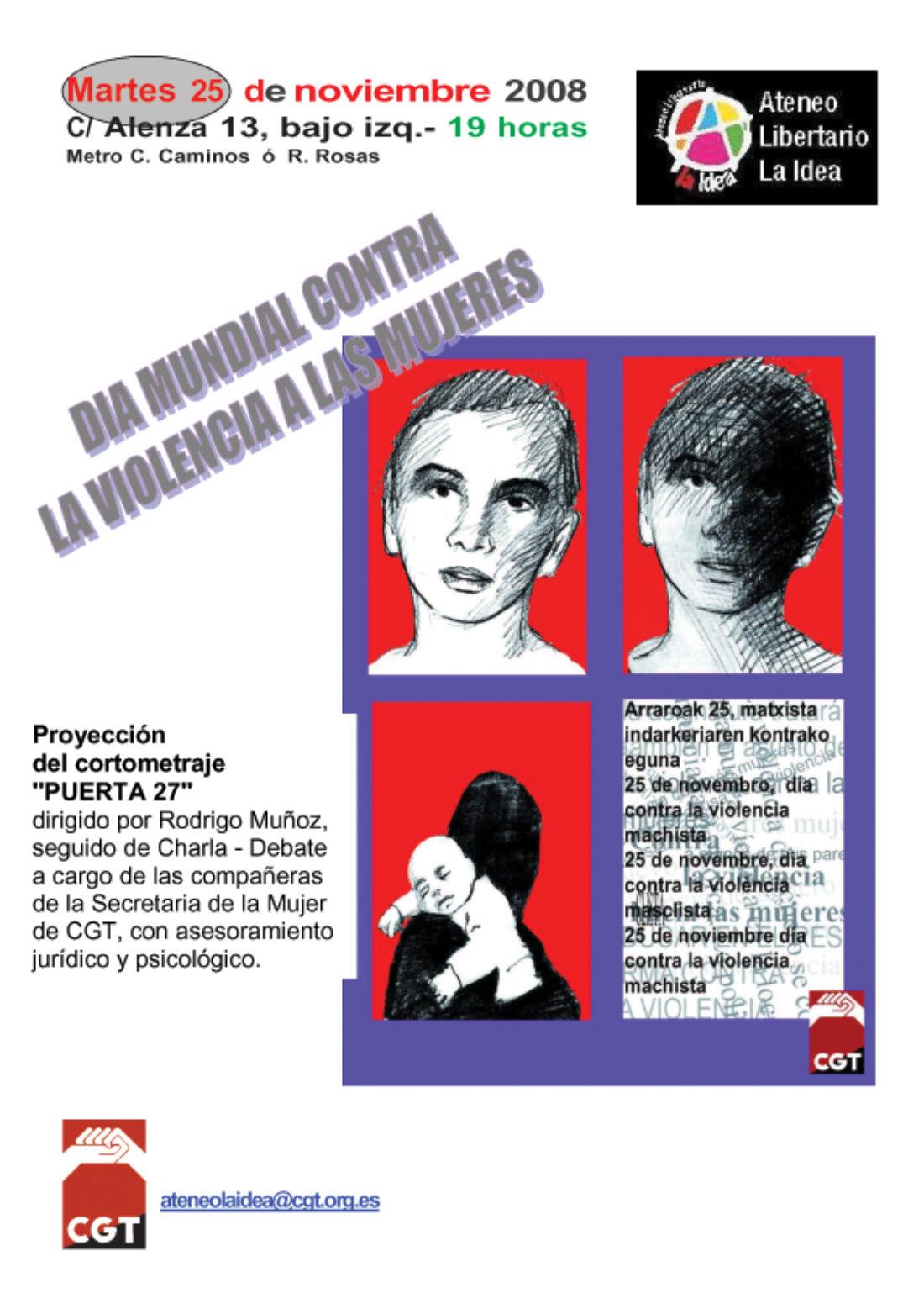 Ateneo Libertario «La Idea» CGT-Madrid: 25 de noviembre, Día Mundial contra la violencia a las mujeres