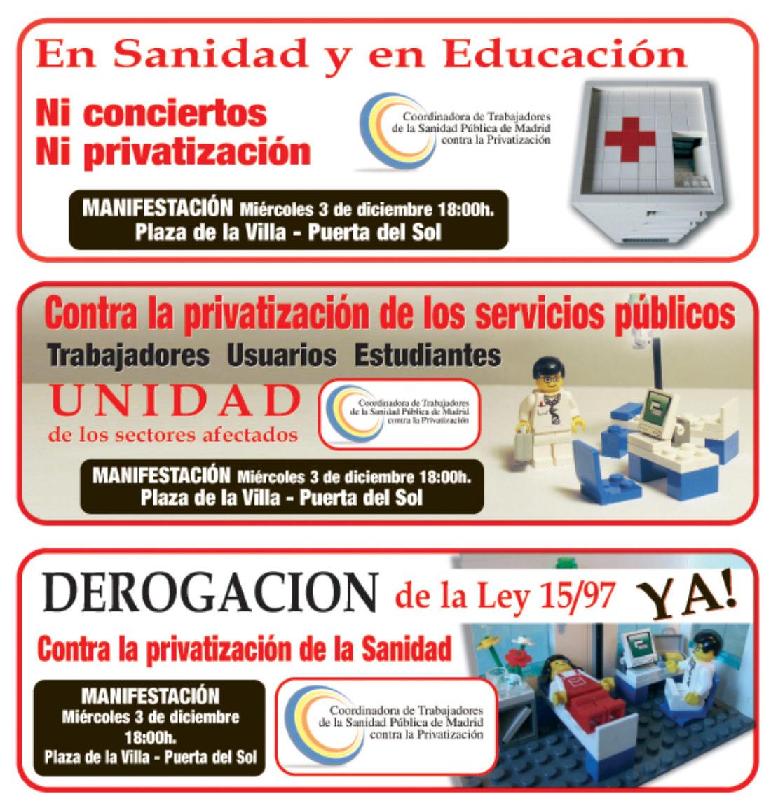 Convocatoria de asamblea de la Coordinadora de Trabajadores de la Sanidad Pública de Madrid Contra la Privatización