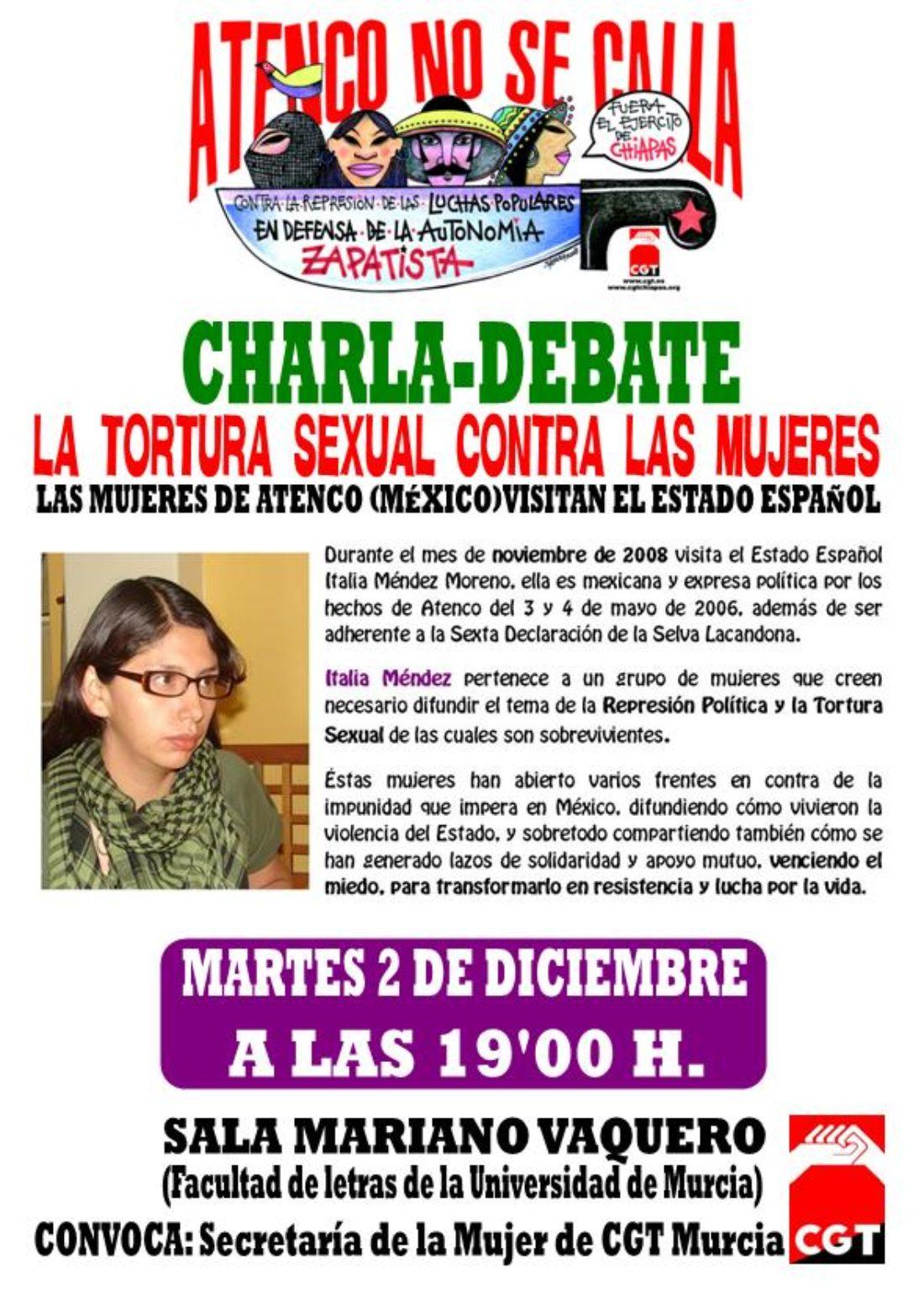 Martes 2 de diciembre a las 19'00 h. Charla-Coloquio de ITALIA MÉNDEZ en la Sala Mariano Vaquero de la Facultad de Letras de la Universidad de Murcia