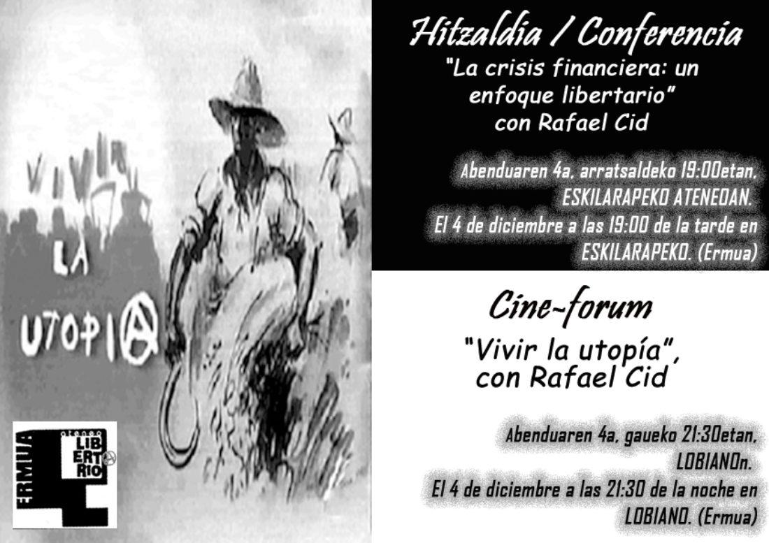 Conferencia y Bideoforum en el Ateneo Libertario de Ermua