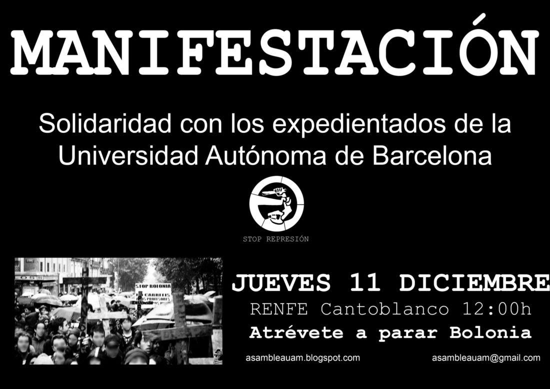 Madrid: Manifestación en solidaridad con expedientados de la UAB