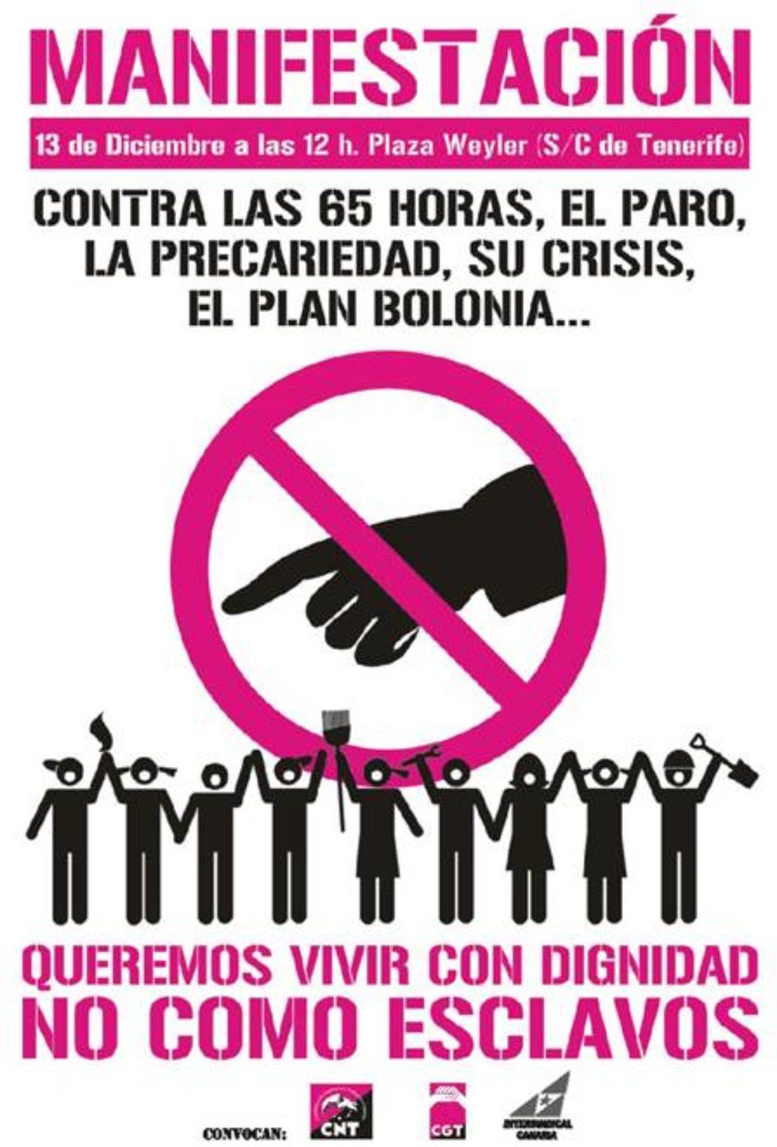 Tenerife: manifestación contra la crisis. 13 de diciembre, 12h. Plaza Weyler