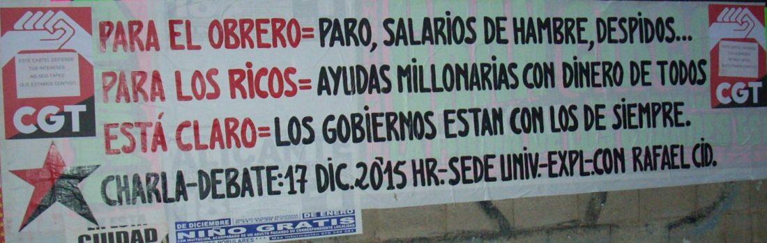 Imágenes: pegada de carteles de CGT Alicante convocando a la charla-debate del día 17