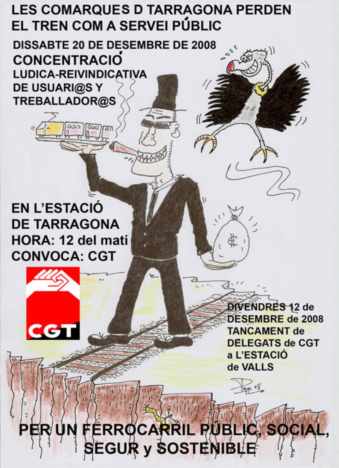 20 de desembre: tancament CGT estacio Valls