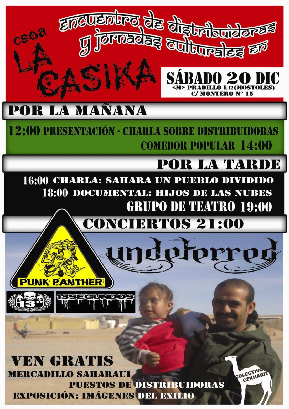 Móstoles, CSOA La Casika, sábado 20: Jornadas Saharauis + Concierto Punk Panther