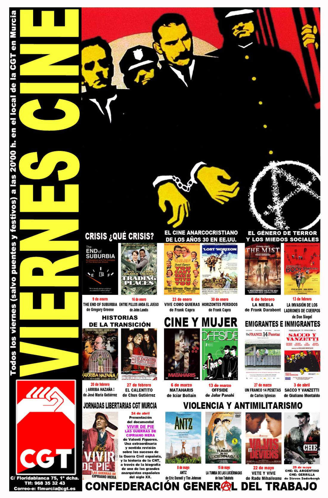 VIERNES CINE. Cartel programación hasta junio y el 9 de enero THE END OF SUBURBE a las 20'00 h. en el local de CGT en Murcia