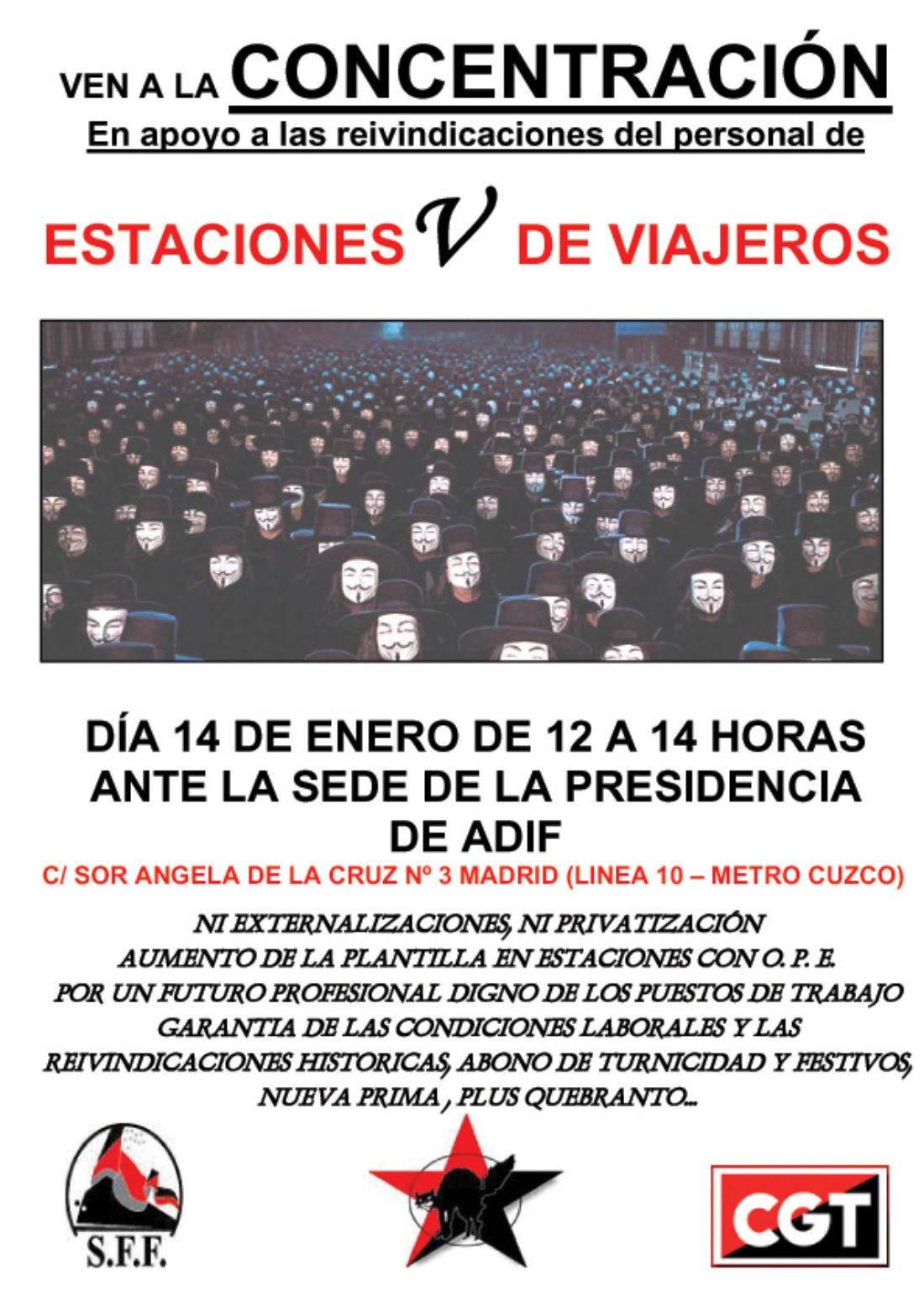 Madrid, 14 de enero: concentración de CGT en apoyo a las reivindicaciones del personal de Estaciones de Viajeros