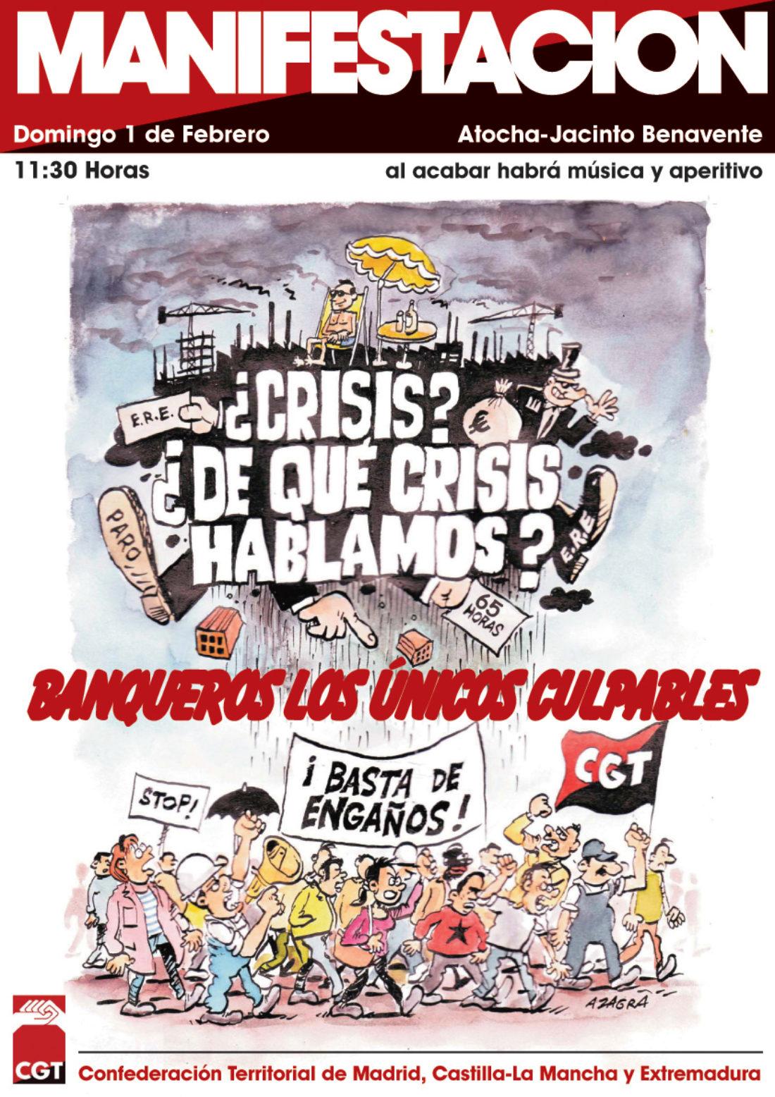 CGT Madrid-Castilla La Mancha convoca manifestación para el 1 de febrero