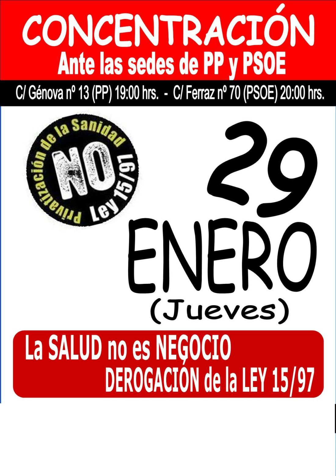 Jueves 29: concentración contra la privatización de la sanidad frente a las sedes del PP y PSOE en Madrid