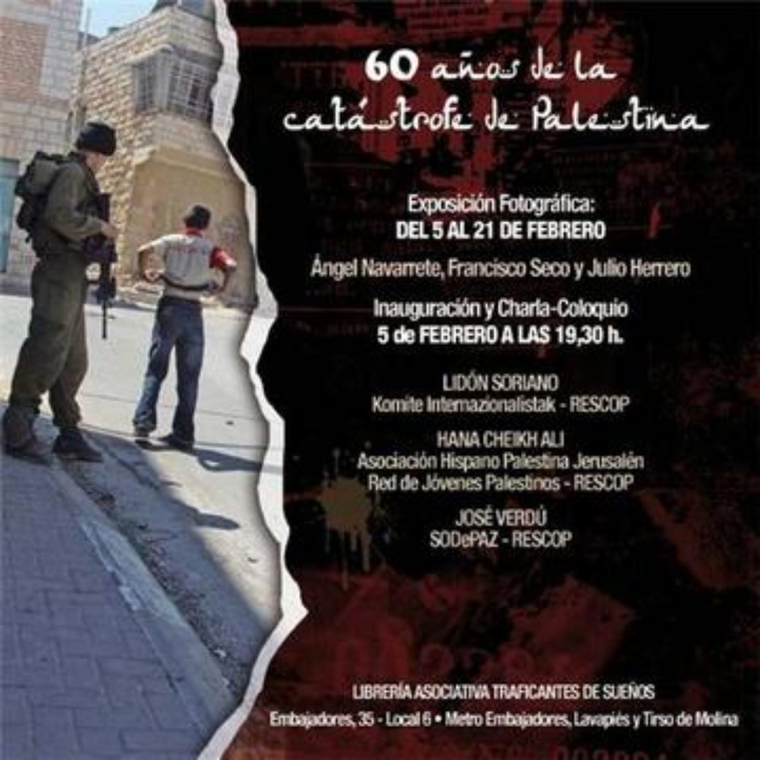 Madrid: «60 años de la catástrofe de Palestina». Exposición y coloquio