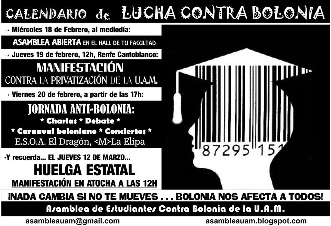 Madrid: Próximas citas en la lucha contra Bolonia