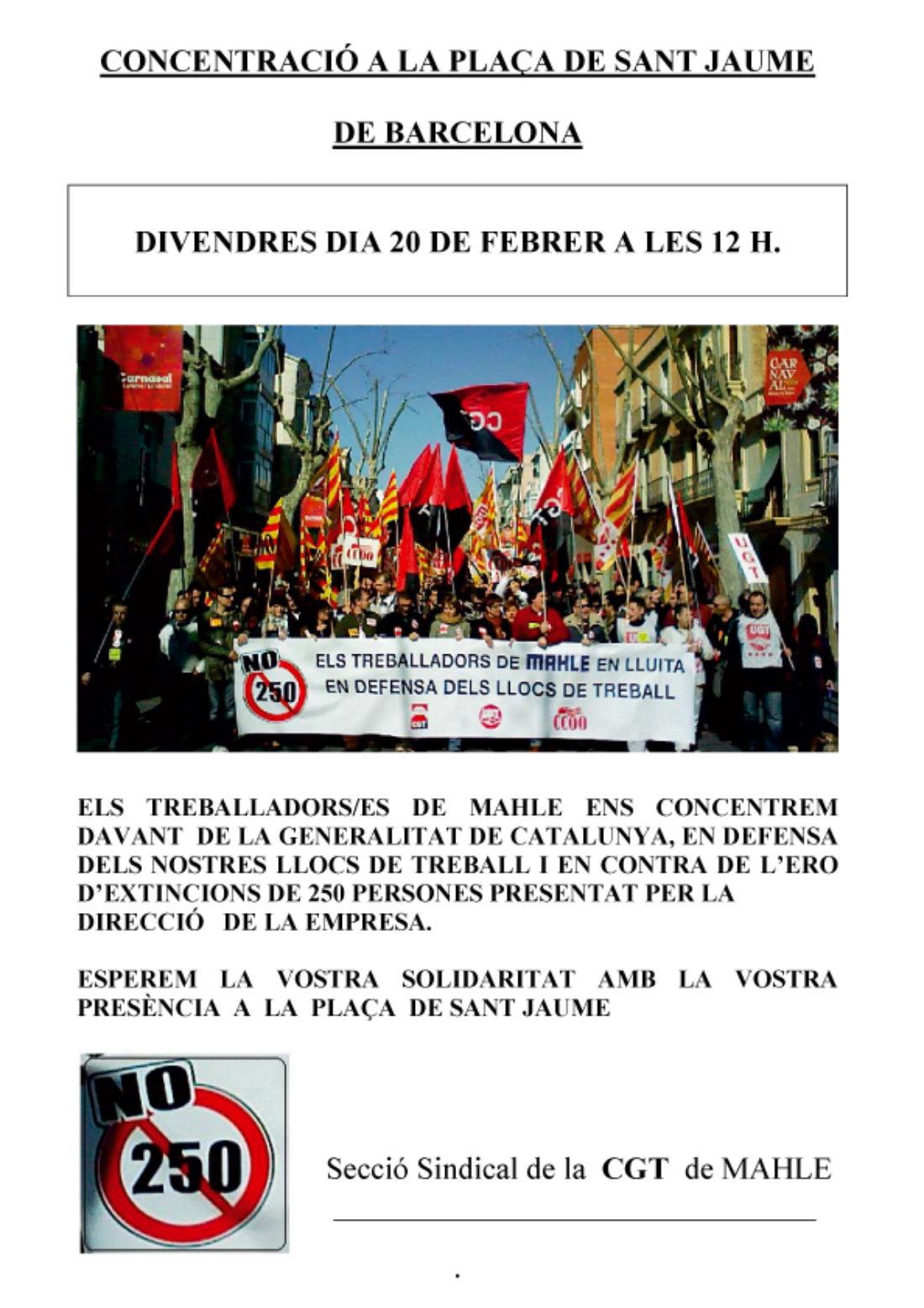 Els treballadors de Mahle convoquen concentració a la Plaça de Sant Jaume de Barcelona el divendres 20 de febrer a les 12 h. contra els 250 acomiadaments