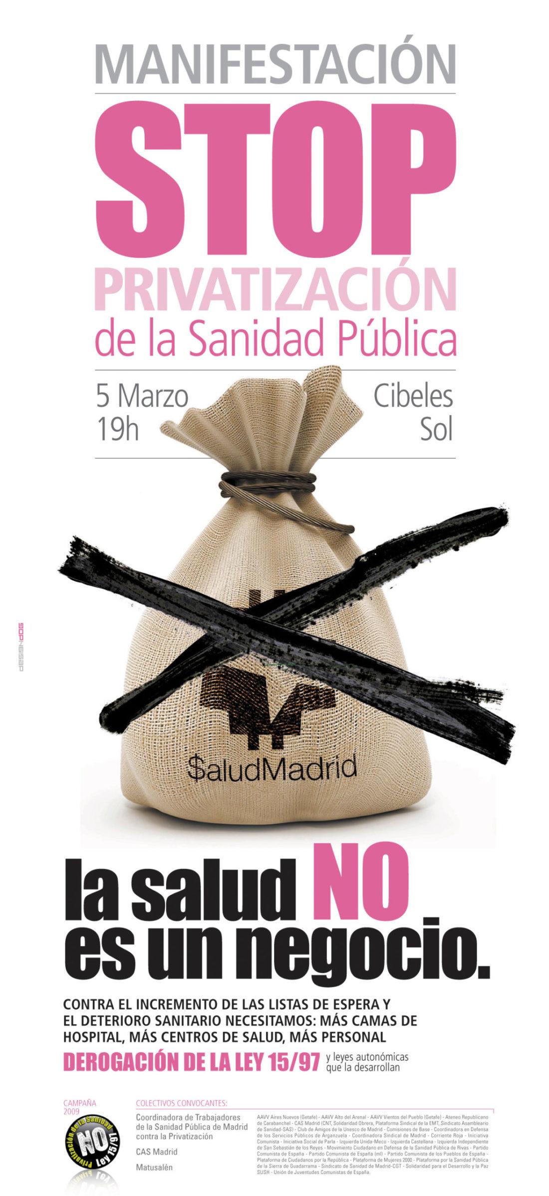 Madrid, 5 de marzo: Manifestación contra la privatización de la sanidad