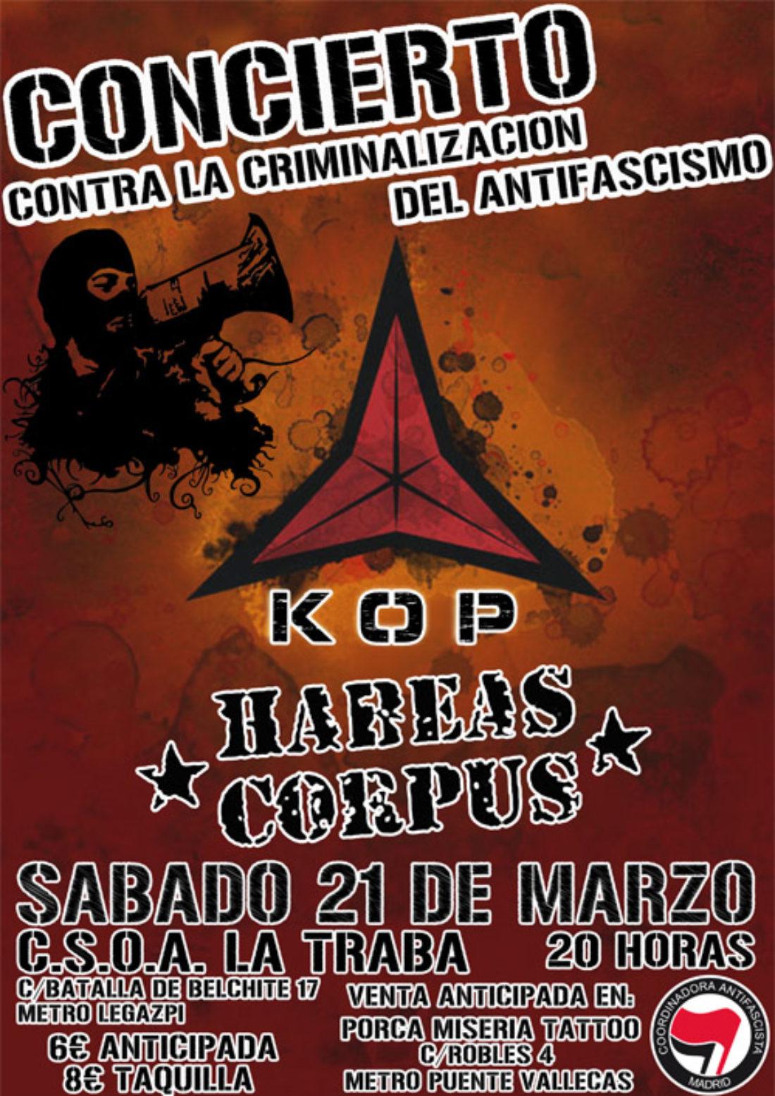 Madrid: Concierto de KOP y Habeas Corpus contra la criminalización del antifascismo